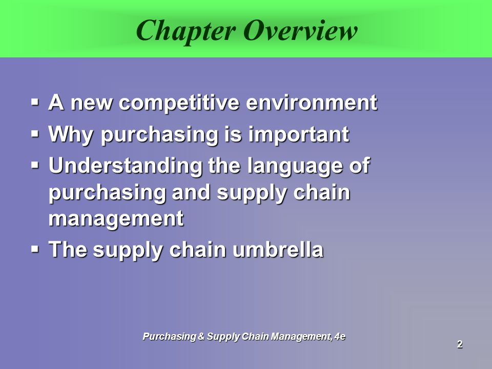 Importance of Purchasing & Supply Management