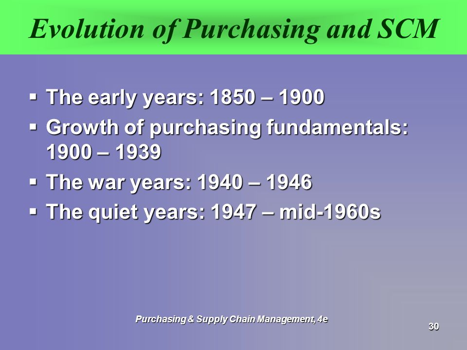 Evolution of Purchasing and SCM