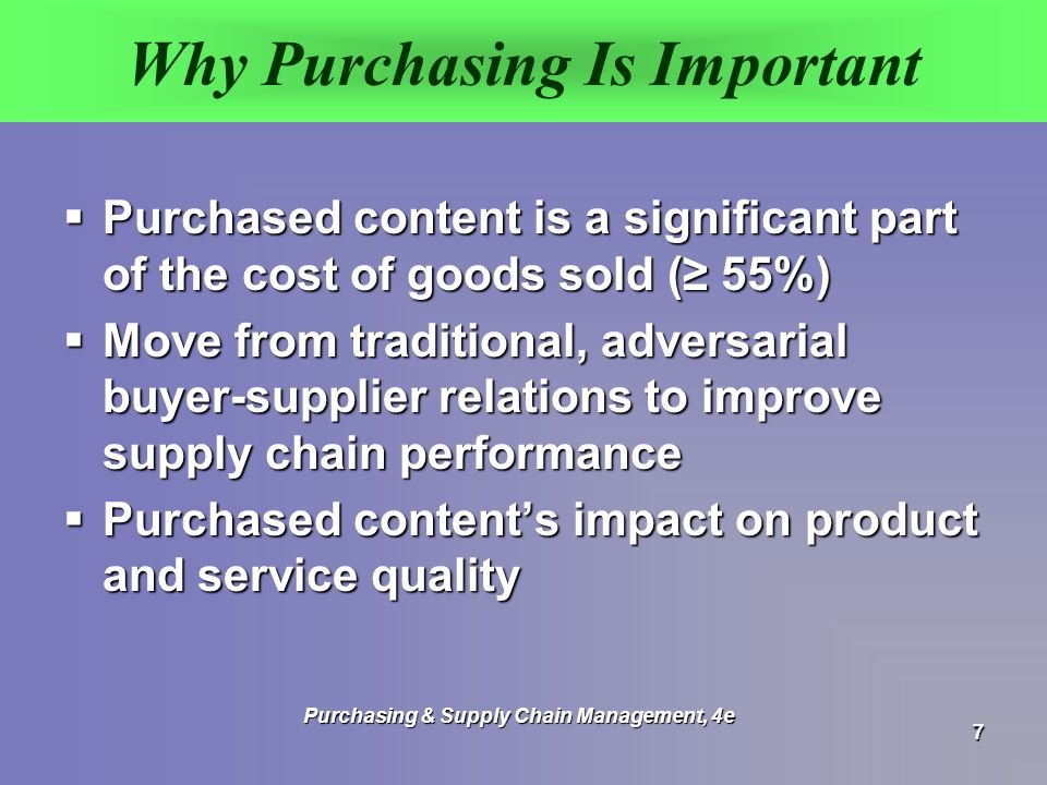 Why Purchasing Is Important