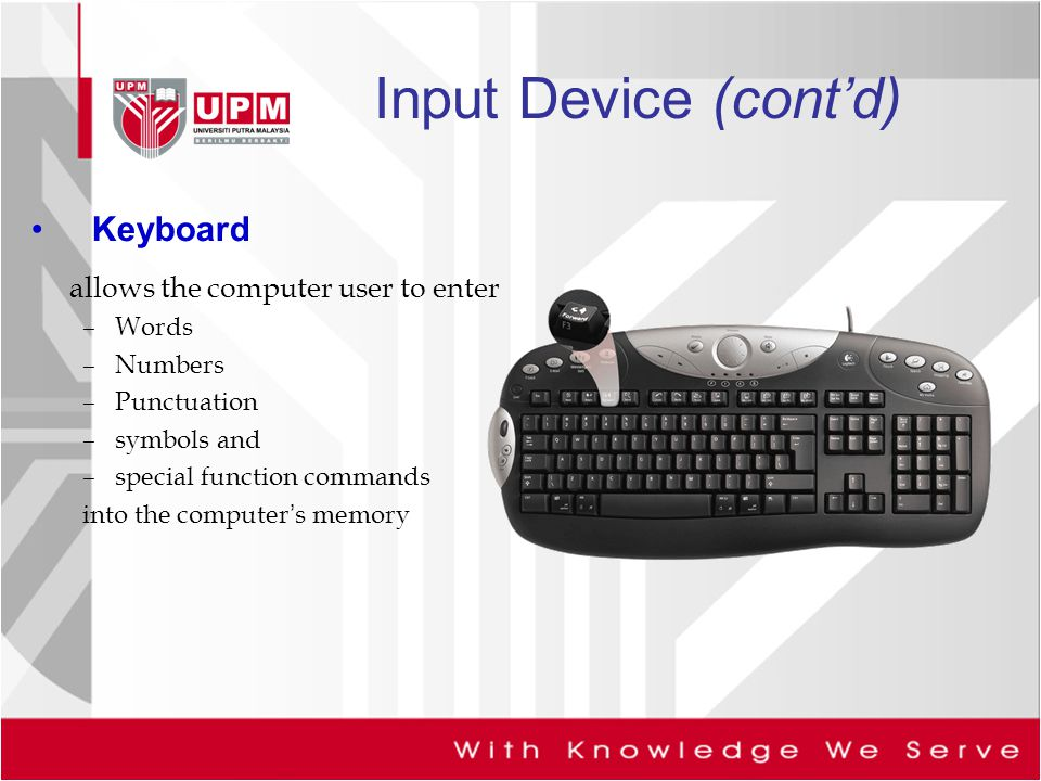 Input Device (cont'd) Keyboard allows the computer user to enter Words