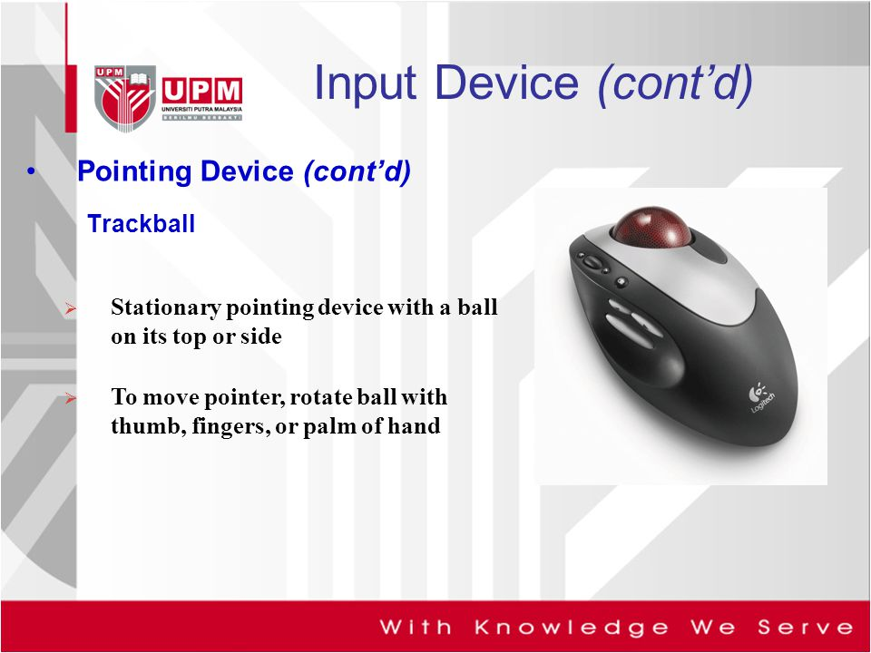 Input Device (cont'd) Pointing Device (cont'd) Trackball