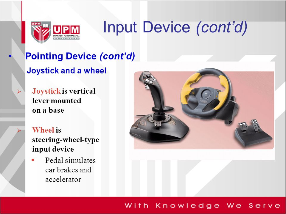 Input Device (cont'd) Pointing Device (cont'd) Joystick and a wheel