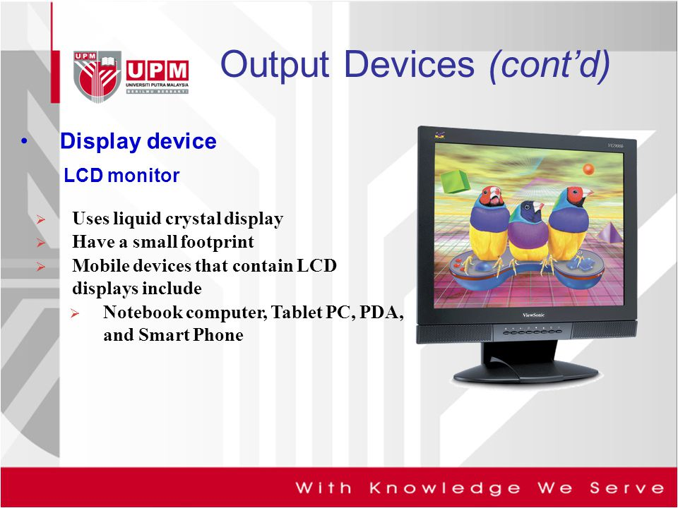 Output Devices (cont'd)