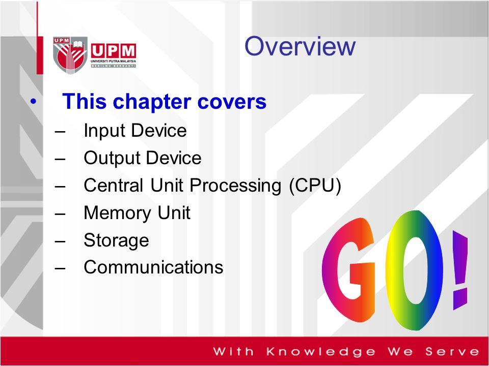 Overview This chapter covers Input Device Output Device