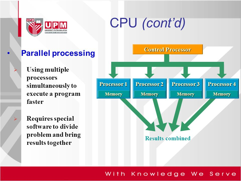 CPU (cont'd) Parallel processing