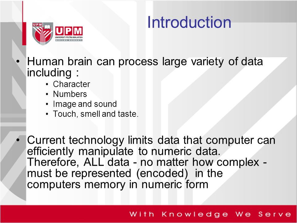 Introduction Human brain can process large variety of data including :