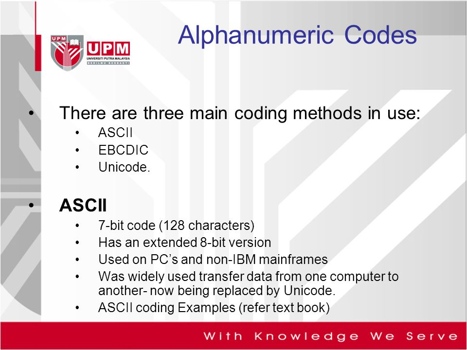 Alphanumeric Codes There are three main coding methods in use: ASCII