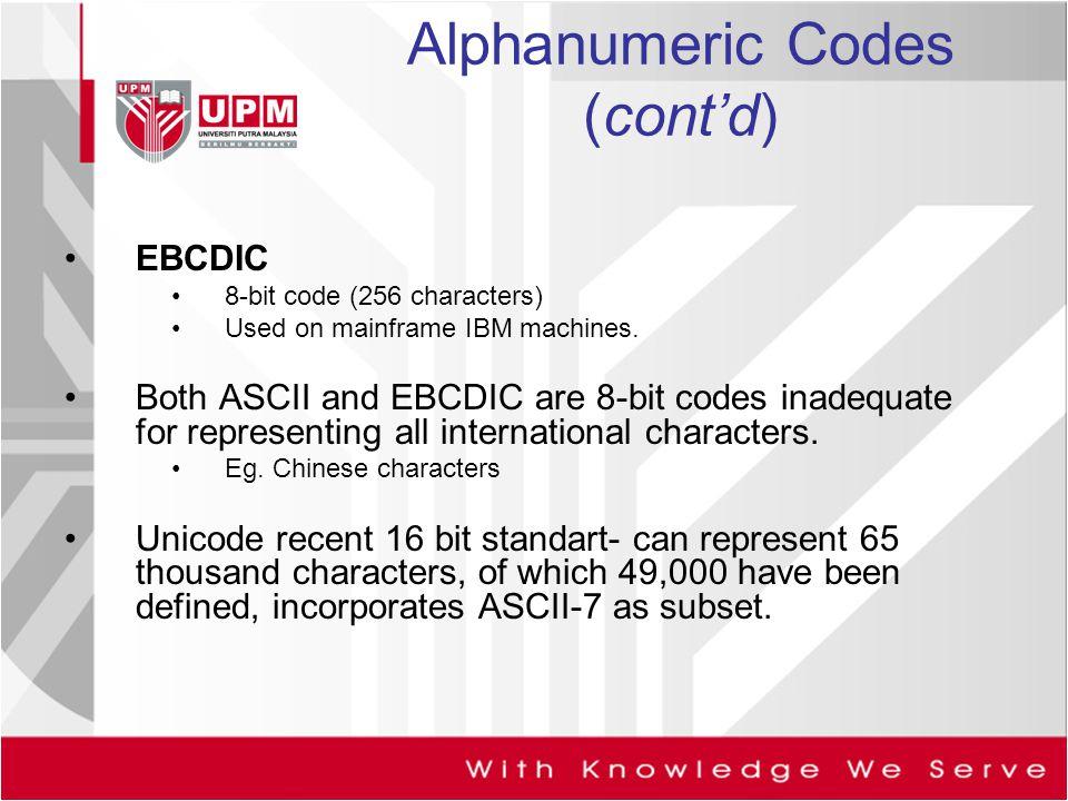 Alphanumeric Codes (cont'd)