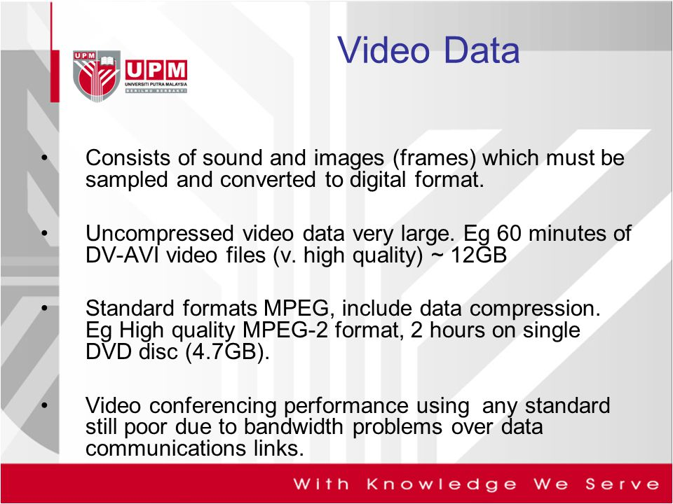 Video Data Consists of sound and images (frames) which must be sampled and converted to digital format.