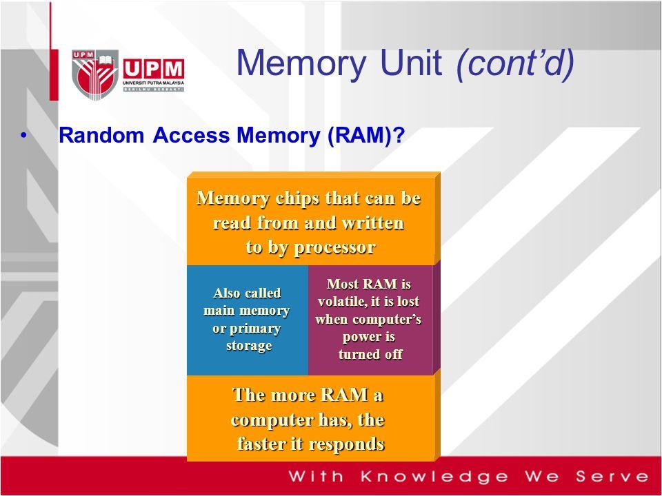 Memory Unit (cont'd) Random Access Memory (RAM)