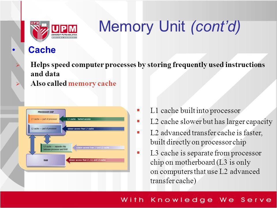 Memory Unit (cont'd) Cache