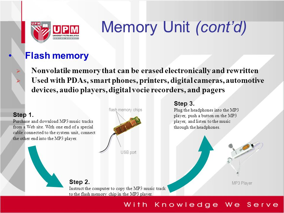 Memory Unit (cont'd) Flash memory