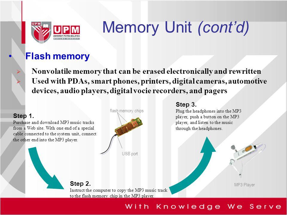 Memory Unit (cont'd) Flash memory