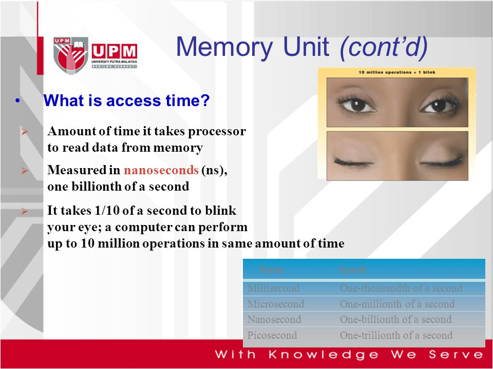 Memory Unit (cont'd) What is access time