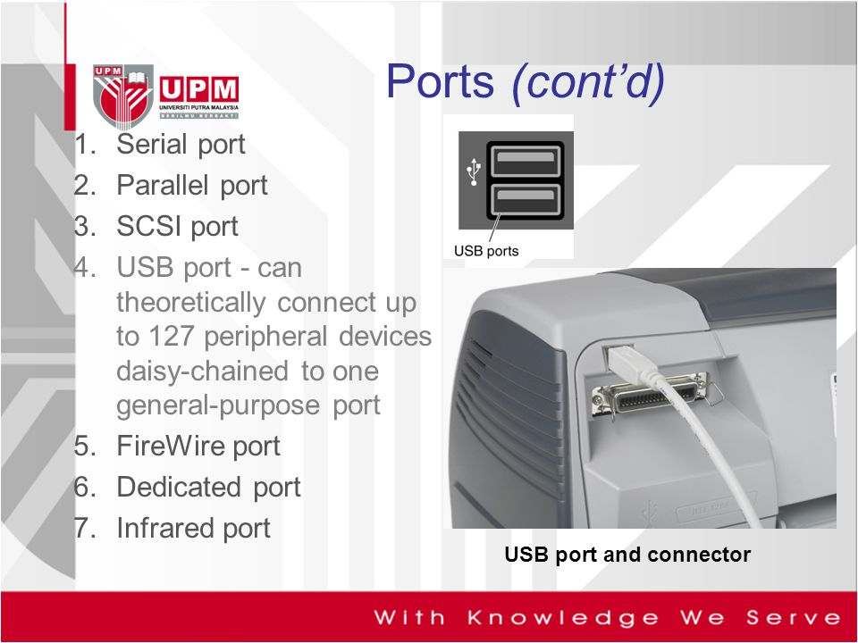 Ports (cont'd) Serial port Parallel port SCSI port