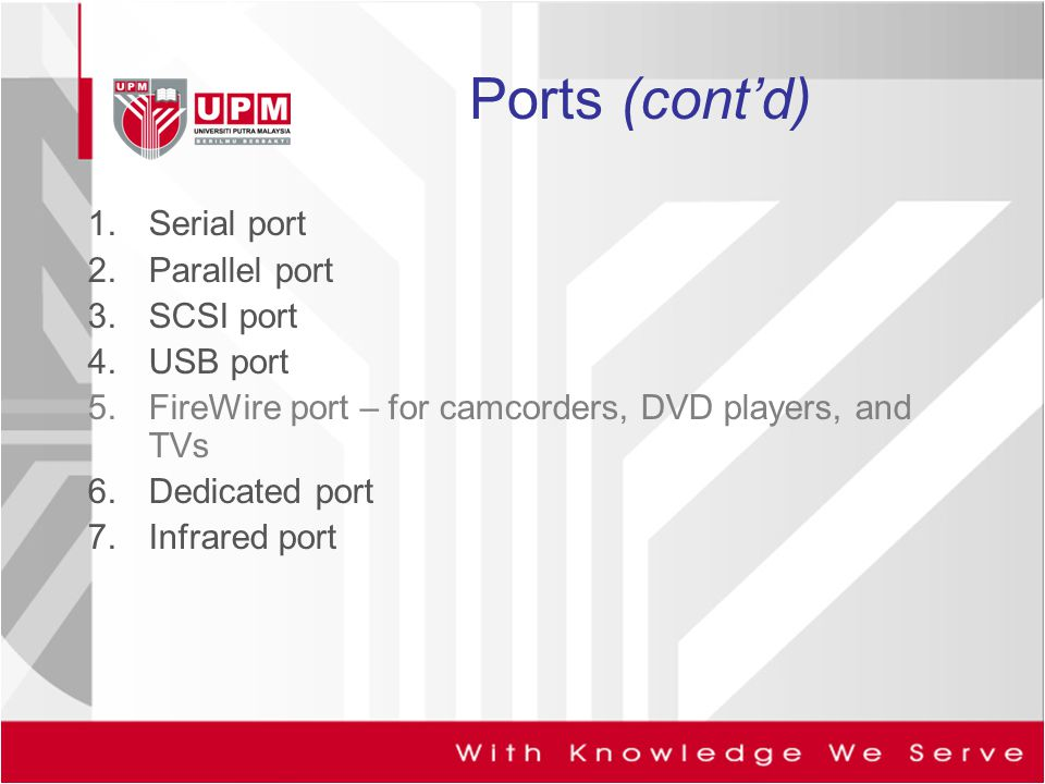 Ports (cont'd) Serial port Parallel port SCSI port USB port