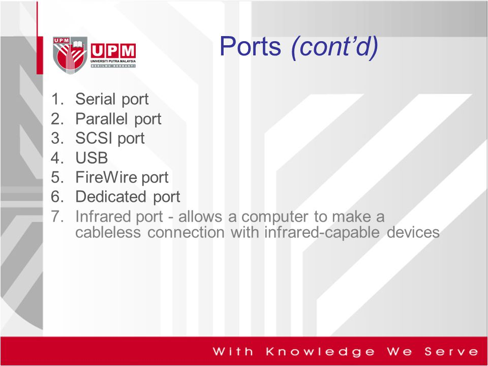 Ports (cont'd) Serial port Parallel port SCSI port USB FireWire port