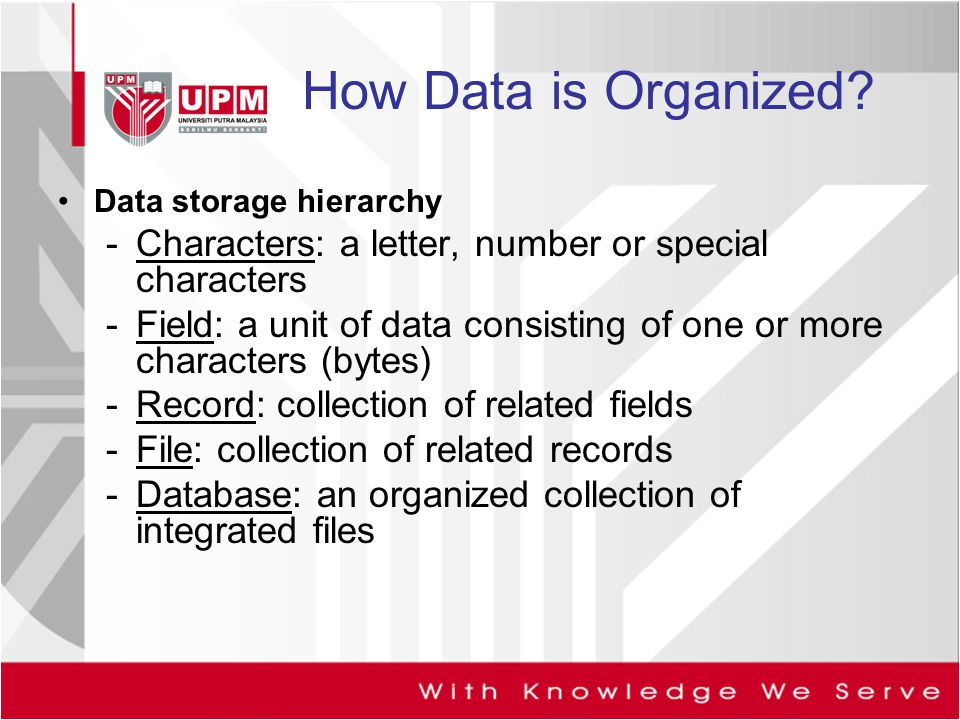 How Data is Organized Data storage hierarchy. Characters: a letter, number or special characters.