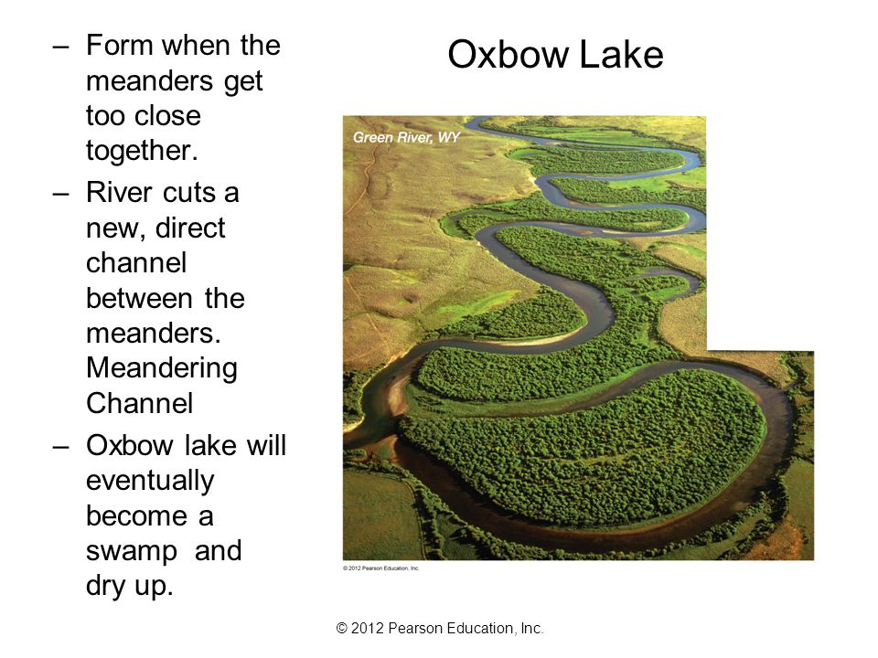 Oxbow Lake Form when the meanders get too close together.