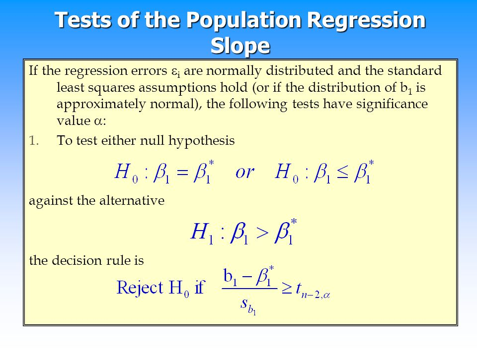 Tests of the Population Regression Slope