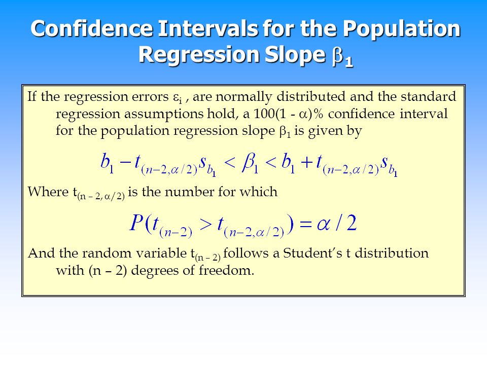Confidence Intervals for the Population Regression Slope 1