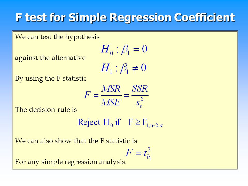 F test for Simple Regression Coefficient