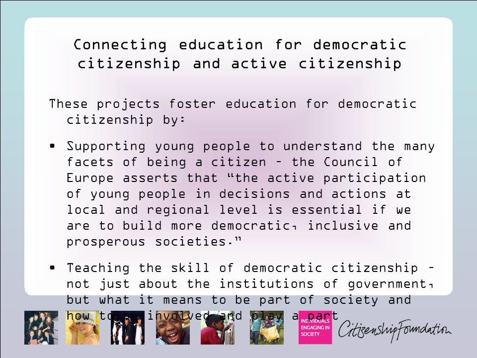 Connecting education for democratic citizenship and active citizenship
