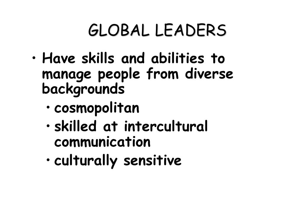 global leadership skills in multinational companies Full paper will be available summer 2014 leadership styles in global organizations is often difficult to dismiss, specifically when it comes to multinational companies, for they thrive on successful culture and tradition to enhance leadership skills.