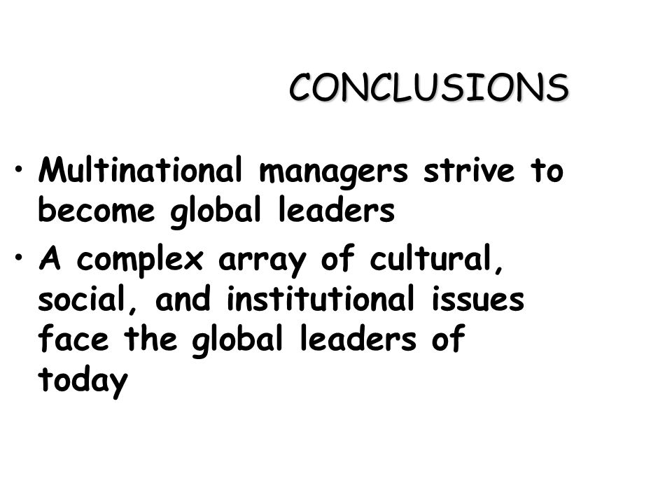 Problems facing leader in multinational organization