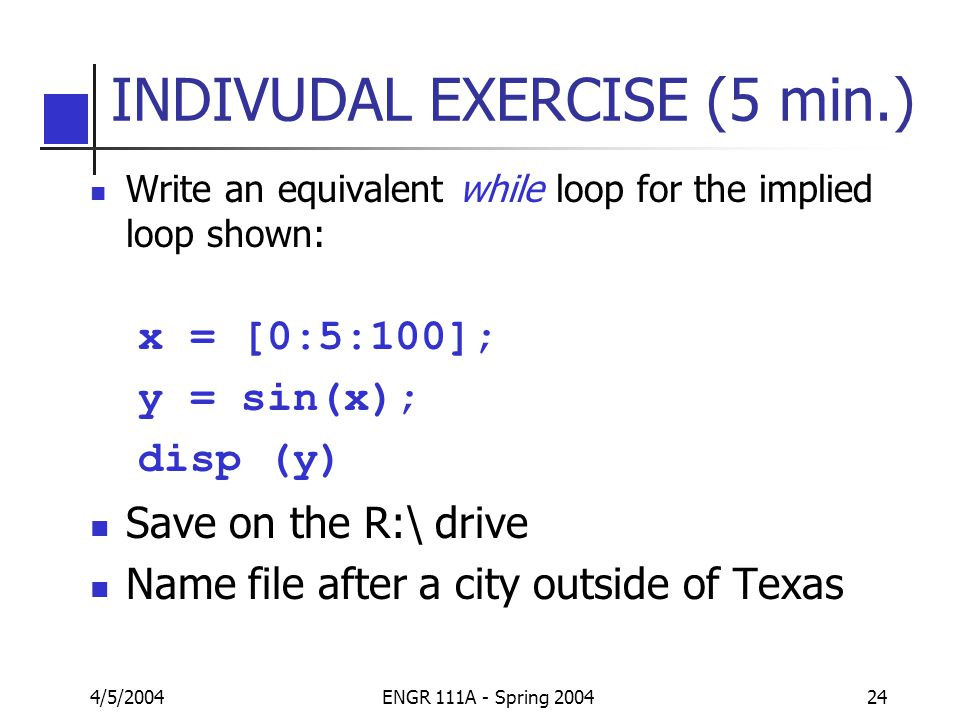 matlab nested for loop example