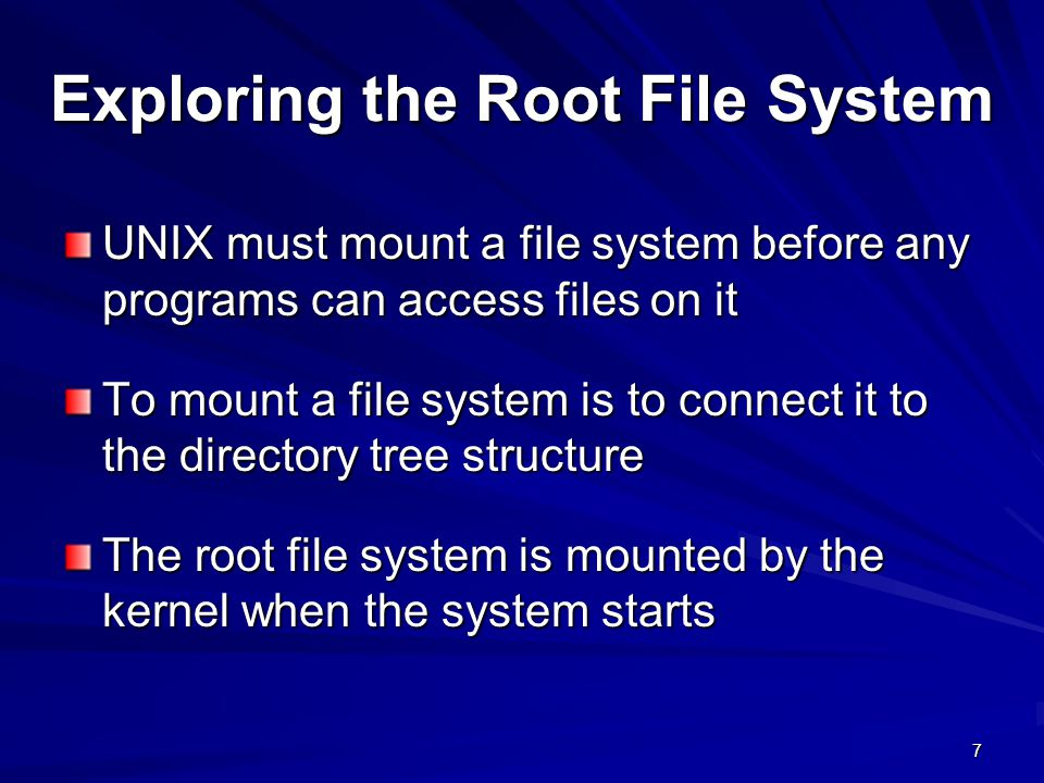 Exploring the Root File System