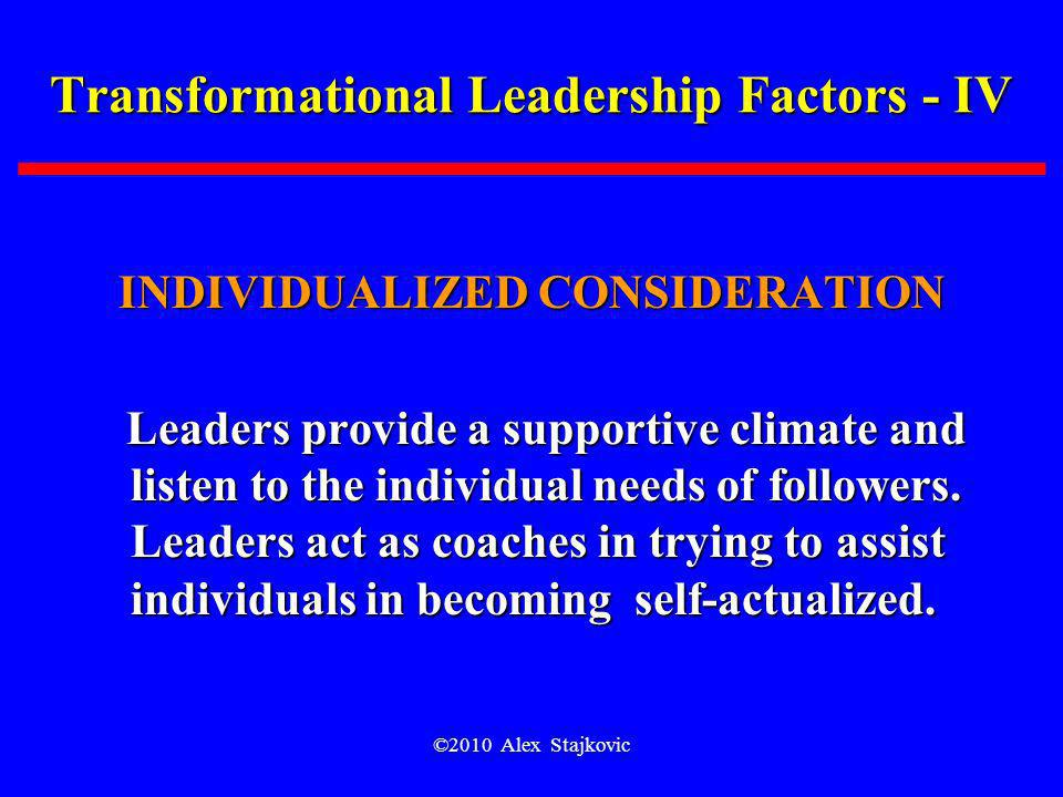 Transformational Leadership Factors - IV
