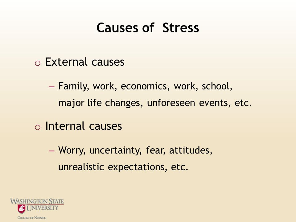 causes of stress and its solution What is stress meaning stress is a general term applied to various psychologic (mental) and physiologic (bodily) pressures experienced or felt by people throughout their lives.