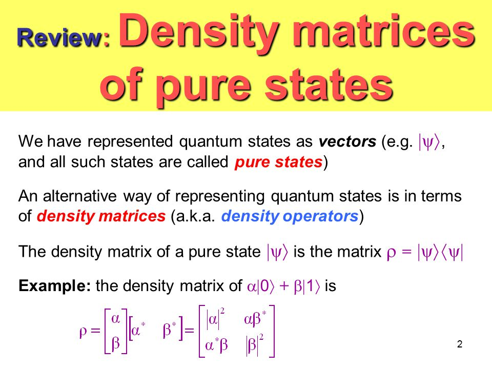 Review: Density matrices of pure states