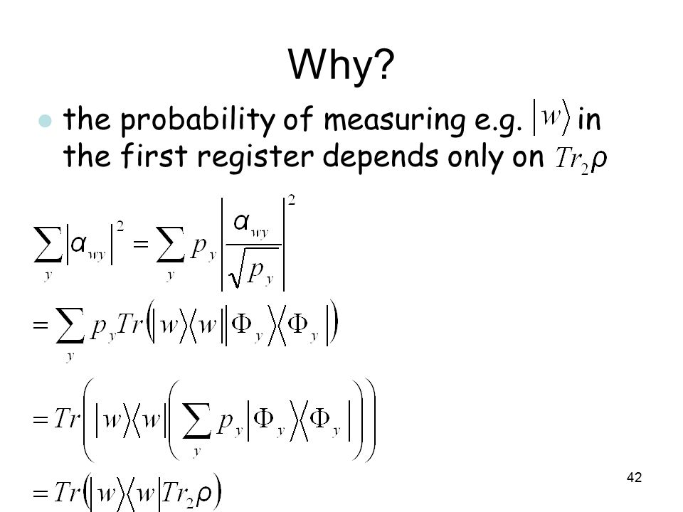 Why the probability of measuring e.g. in the first register depends only on