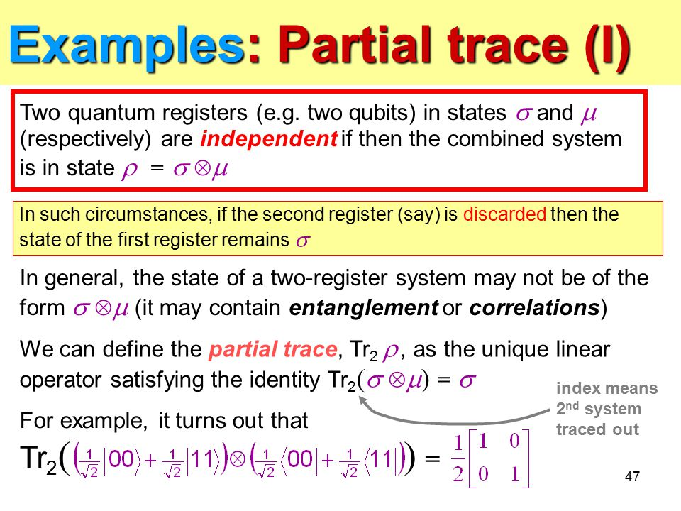 Examples: Partial trace (I)