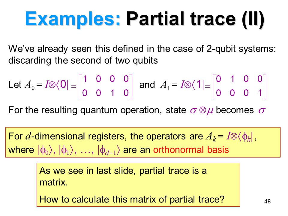 Examples: Partial trace (II)
