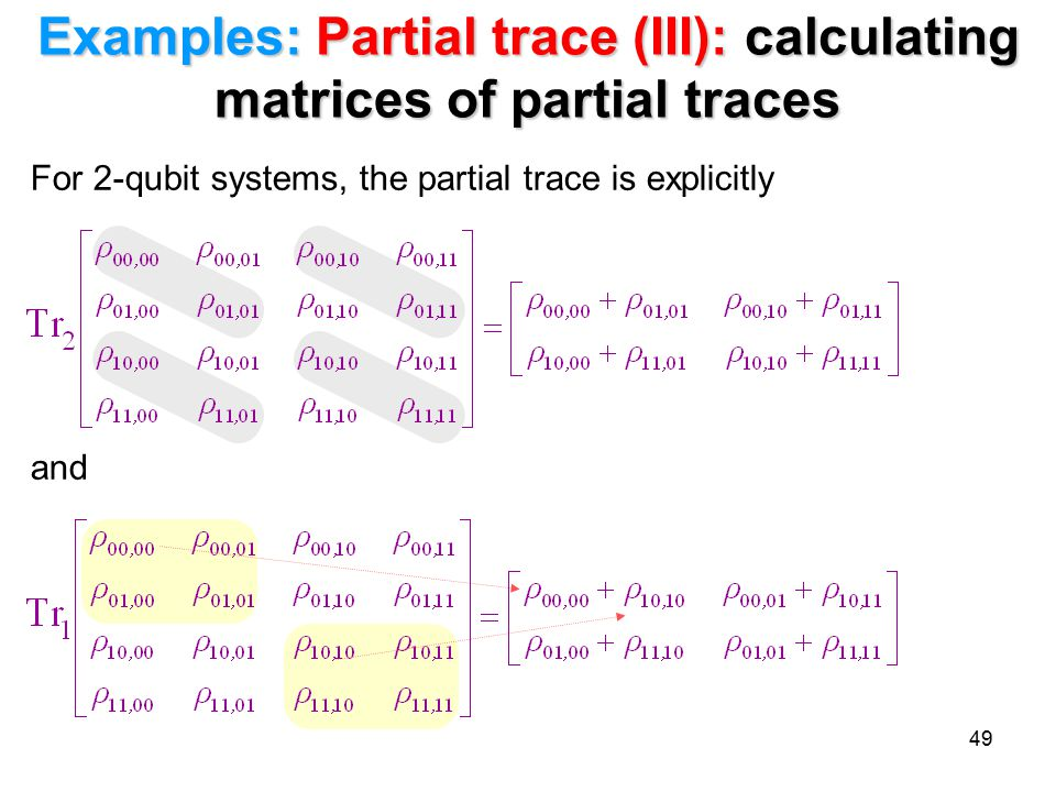 Examples: Partial trace (III): calculating matrices of partial traces