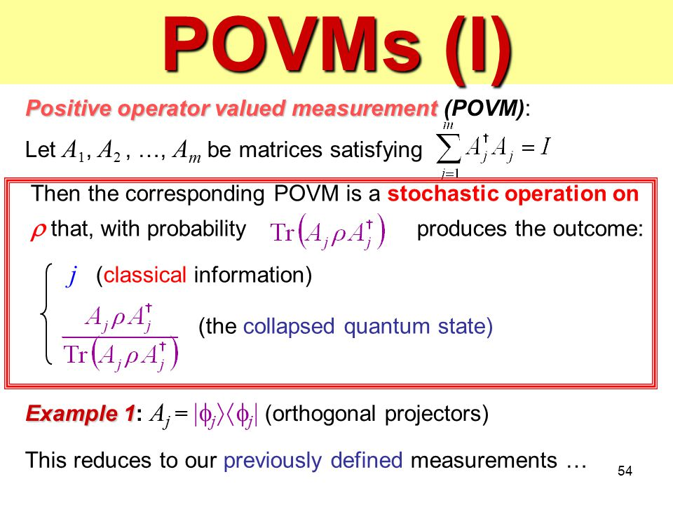 POVMs (I) j (classical information)