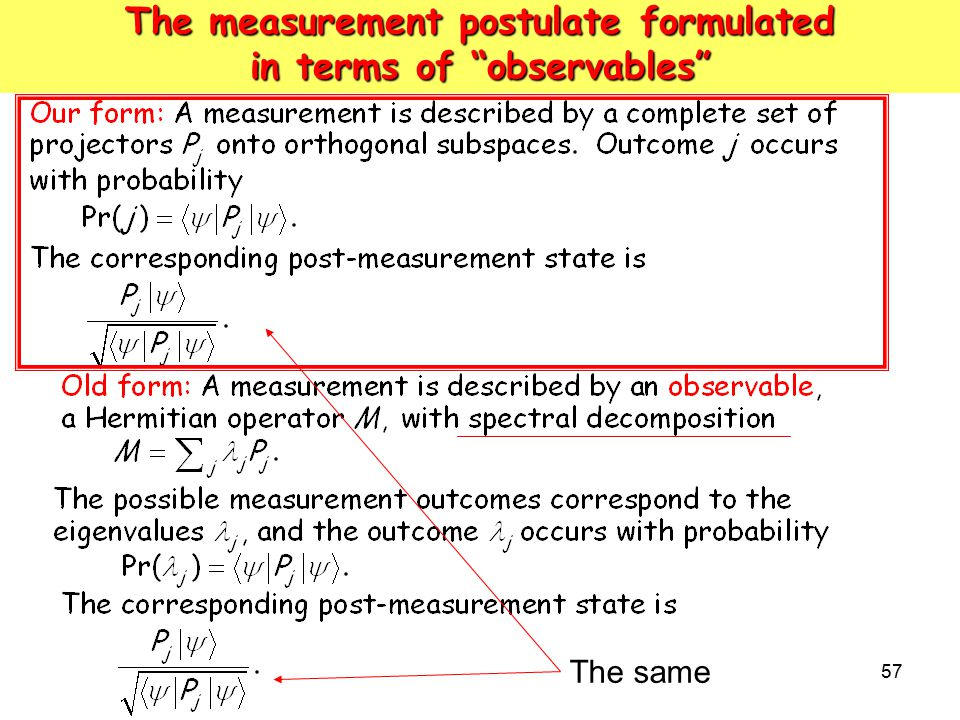 The measurement postulate formulated in terms of observables
