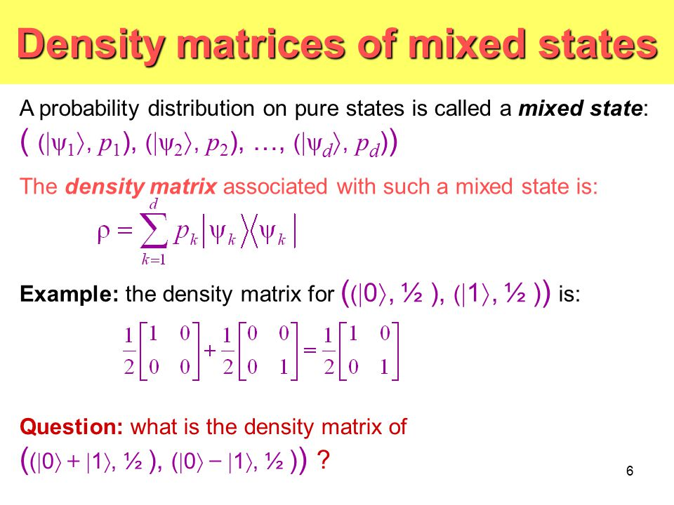 Density matrices of mixed states
