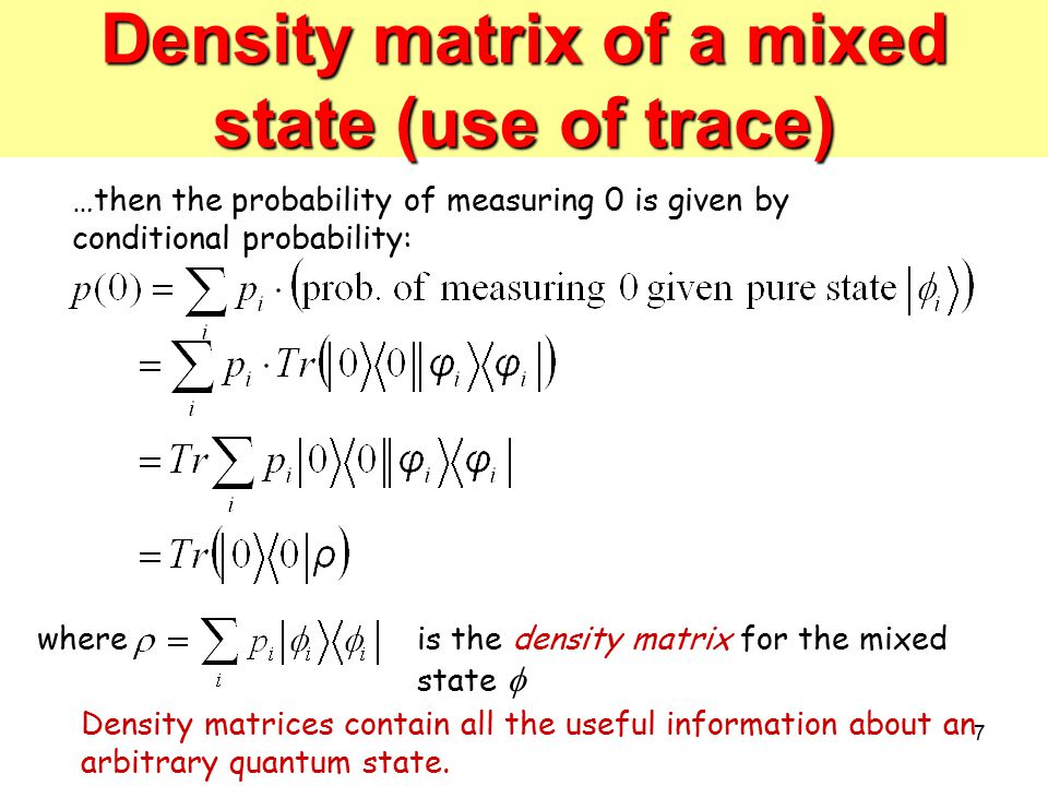 Density matrix of a mixed state (use of trace)