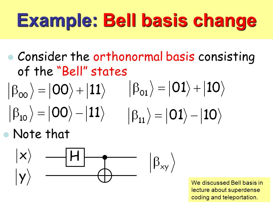 Example: Bell basis change