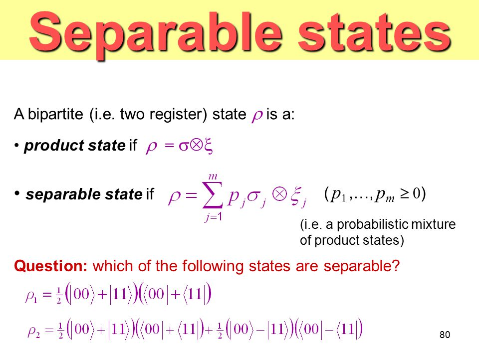 Separable states separable state if