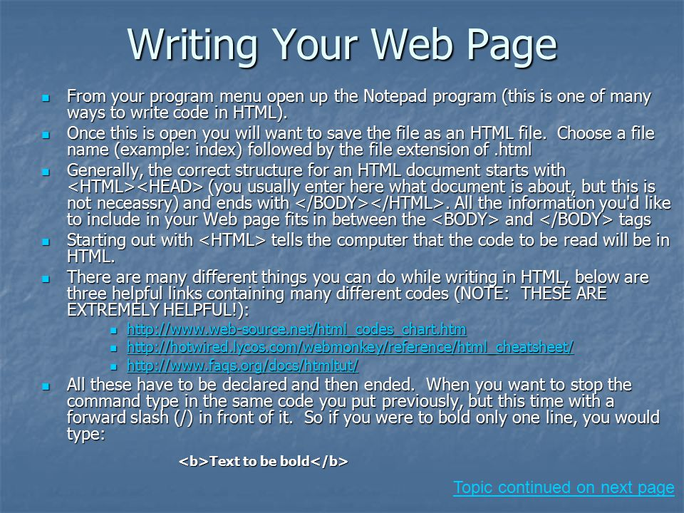 how to write html code in notepad pdf