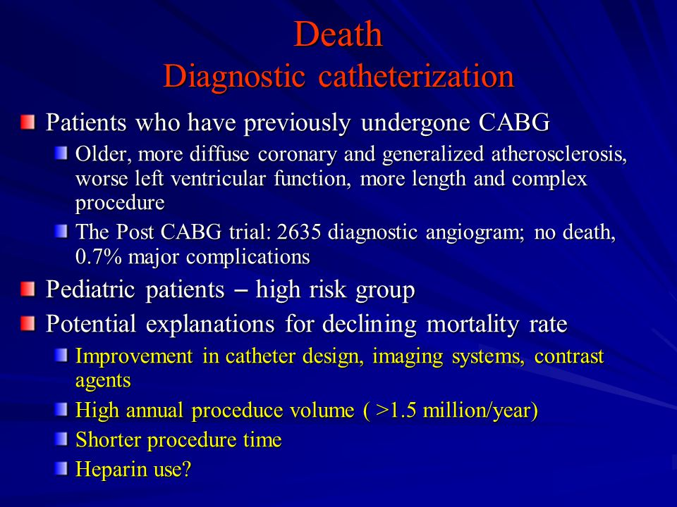 Death Diagnostic catheterization