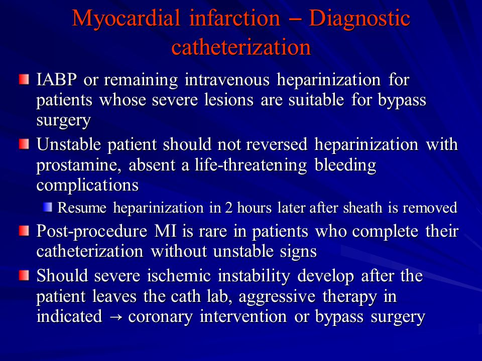 Myocardial infarction ― Diagnostic catheterization