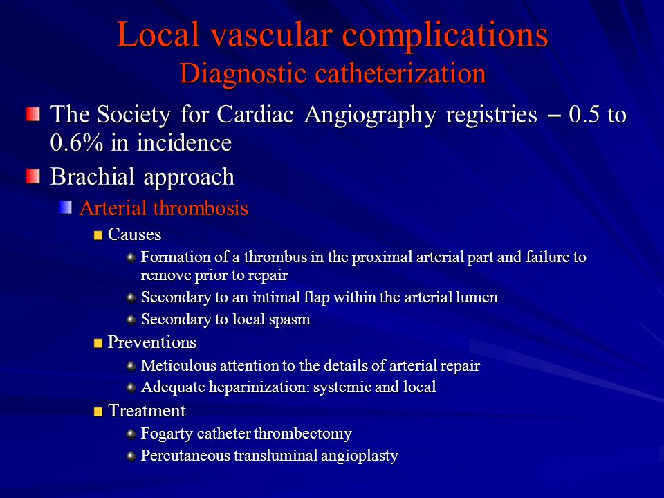 Local vascular complications Diagnostic catheterization