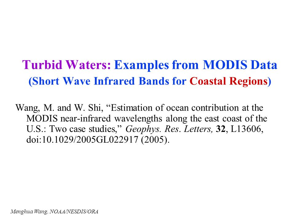 Turbid Waters: Examples from MODIS Data