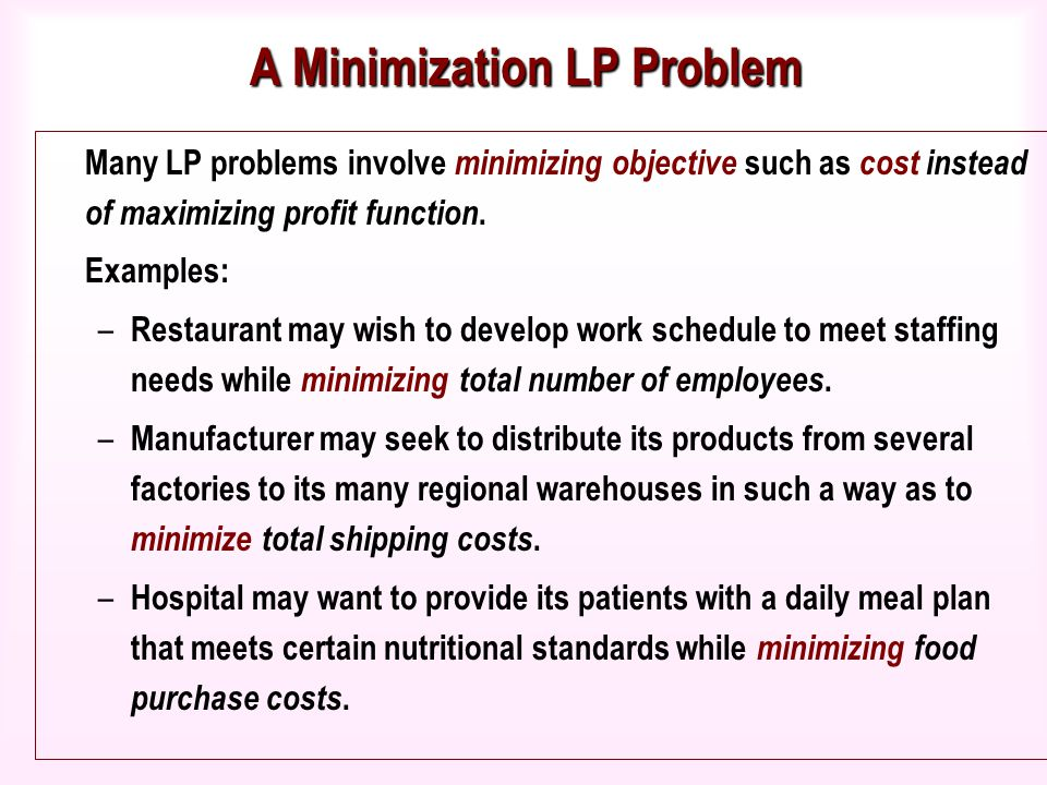 linear programming restaurant Linear programming (lp) is a widely used mathematical technique designed to  help managers in planning and decision making relative to resource allocation.